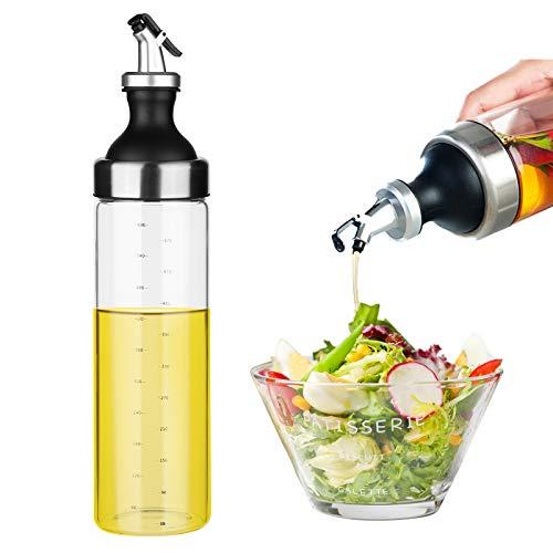 Mitening Botella de Aceite, 600ML Botella Dispensadora de Aceite de Oliva y Vinagre, Aceitera y Vinagrera Antigoteo de Cristal y Acero Inoxidable para Cocinar Ensalada BBQ Barbacoas Pasta Parrillas