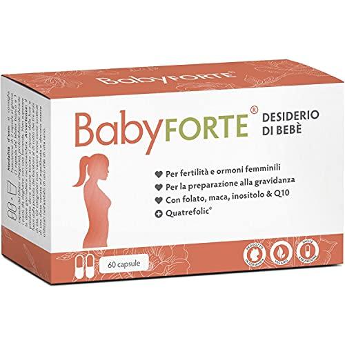 BabyFORTE Desiderio di bebè - Concepimento Integratori - 60 Capsule - acido folico + Maca + mio-inositolo + Nutrienti - Vegan