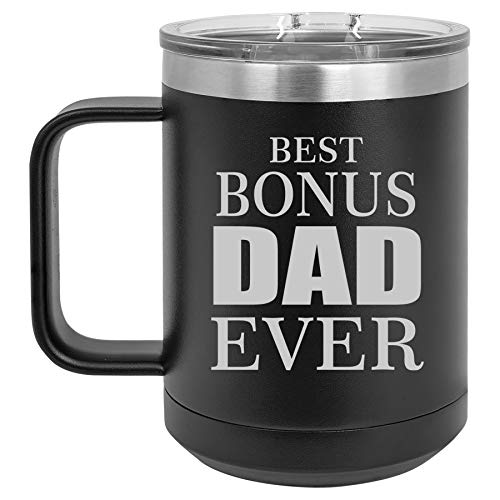 15 oz Tumbler Coffee Mug Travel Cup With Handle & Lid Vacuum Insulated Stainless Steel Best Bonus Dad Ever Step Father