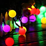 Guirlande Lumineuse Exterieur Lampe Solaire, 60 LED 10M Étanche IP65 avec 8 Modes Eclairage d'Ambiance Jolies Décoration Lumière pour Jardin Terrasse Clôture Cour Maison Fête Noël Multicolore Multi