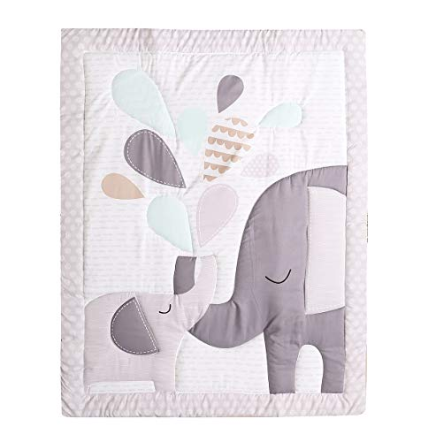 TEALP Baby Toddler Blanket Quilt Cot Comforter Crib Baby Quilts for Boys and Girls Nursery Bed Throw Blanket 84x107cm-Grey Elephant