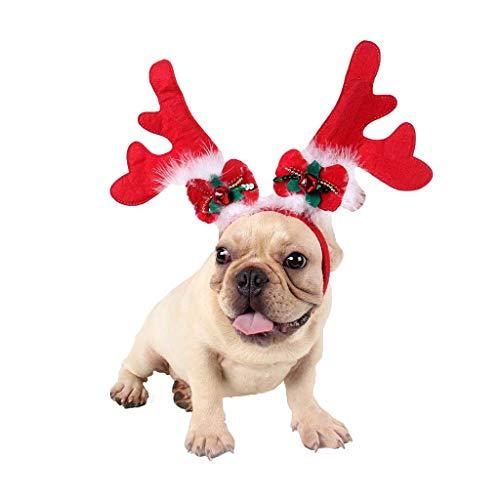 Kerstmuts voor honden of katten, muts met rendierhandgrepen, voor huisdieren, kleding voor rendieren en hoorns, 9.75, 50 hojas