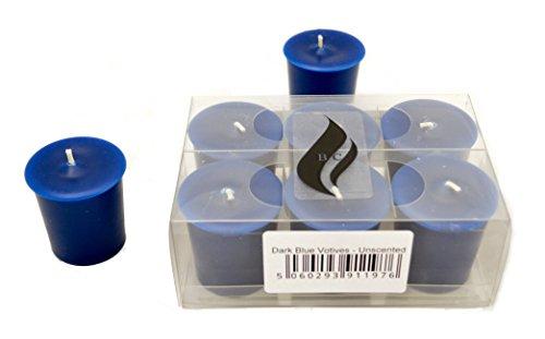 6 x Dark Blue Votive Candles - Unscented
