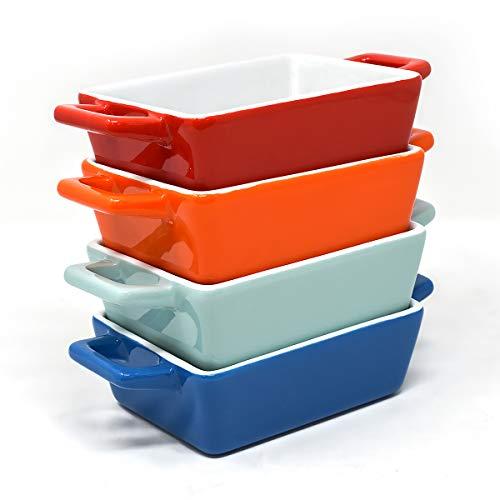 Juego de 4 mini cazuela horno | La mejor fuente horno horno dentro de mas mini cazuelas | Fuente de horno pequeña en azul, azul claro/verdoso, rojo, naranja