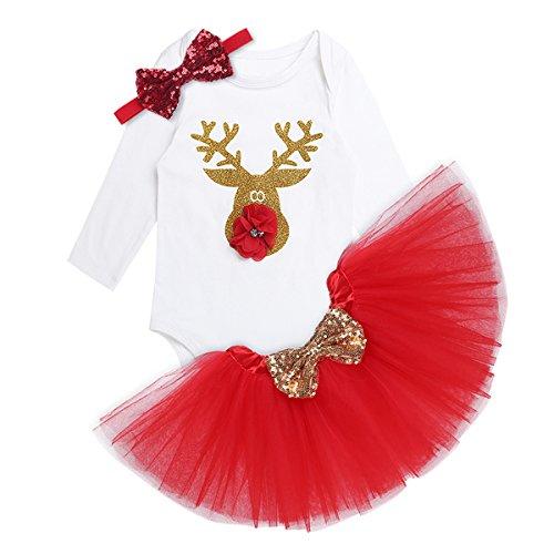 dPois Vestido Tutú Navidad Fiesta Disfraz de Reno para Bebé Niña Recien Nacido Pelele + Falda Rojo Traje Infantil Ropa Invierno Top Manga Larga de Algodón Blanco 3-18 Meses Rojo 18 Meses
