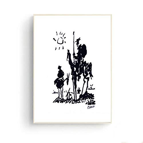 Unbekannt Picasso Einfache Strichzeichnung Don Quijote Drucke Wandkunst Leinwandbilder für Wohnzimmer Büro Decor-60x90 cm Kein Rahmen