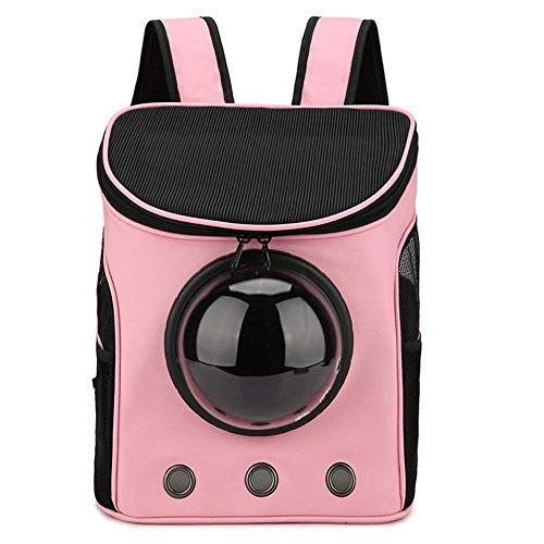 LIRUI Petcomer Innovatieve reis-blaas rugzak transportboxen drager omschakelbaar mesh paneel voor katten honden en kleine dieren 35x31x25cm roze