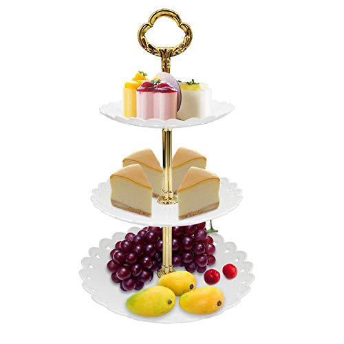 Fruit Cupcake Stands with 3-Tier Tower, Beautiful Tea Party Dessert Dtand, Party Pastry Display Platter