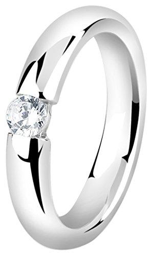 Nenalina Damenring Solitär aus 925 Sterling Silber mit Zirkonia Stein Ringgröße 58