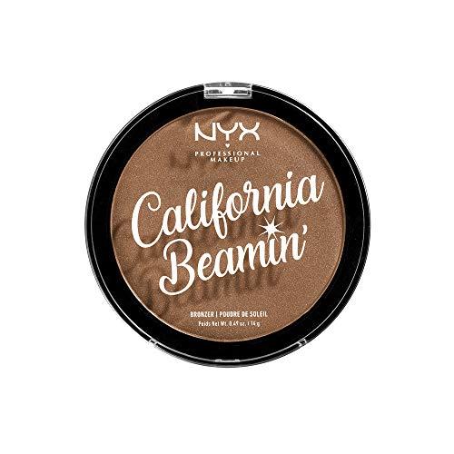 NYX Professional Makeup California Beamin' Bronzer Puder für Gesicht und Körper, Schimmerndes Kompaktpuder, Vegane Formel, Satin Finish, 14 g, Farbton: Sunset Vibes
