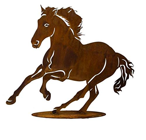 Rostalgie Edelrost Pferd Alissa klein galoppierend auf Bodenplatte 26 x 30 cm Garten Deko