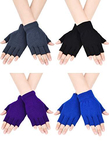 Bememo fingerlose Strickhandschuhe für Jungen und Mädchen, einfarbig, 4 Paar Gr. Medium, Schwarz, Grau, Königsblau, Lila.