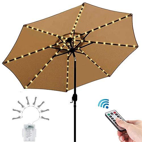 Sonnenschirm Beleuchtung mit Fernbedienung und Timer, Warmweiß 3000K, 8 Modi, Batteriekasten Enthalten, IP65, Lichterkette LED Dimmbar für Patio Umbrella Light, Außen und Innen Deko Licht
