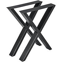 [en.casa] Conjunto de Patas de Mesa - Set de 2X Patas de Mesa - Negro - 59 x 72 cm - Patas para Mesa en Forma de X