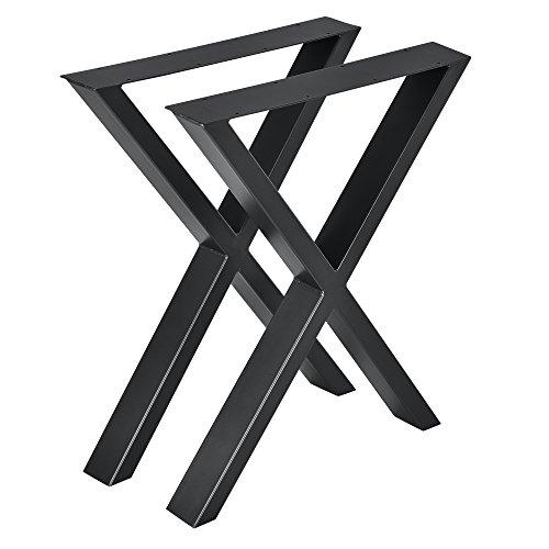 [en.casa] 2X Tischgestell 59x72cm DIY Tisch Tischkufen X-Gestell Schwarz Stahl