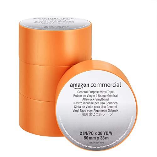 Amazon Commercial Cinta Adhesiva de Vinilo - para Uso General, 0.13 mm x 50 mm x 33 m, color Naranja, Paquete de 4 Unidades