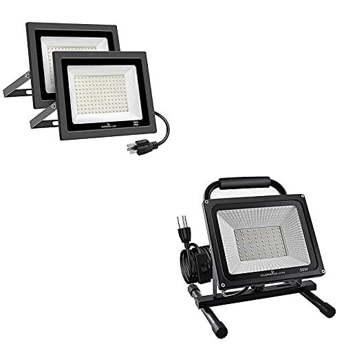 GLORIOUS-LITE 100W LED Flood Light 2 Pack & 50W LED Work Light