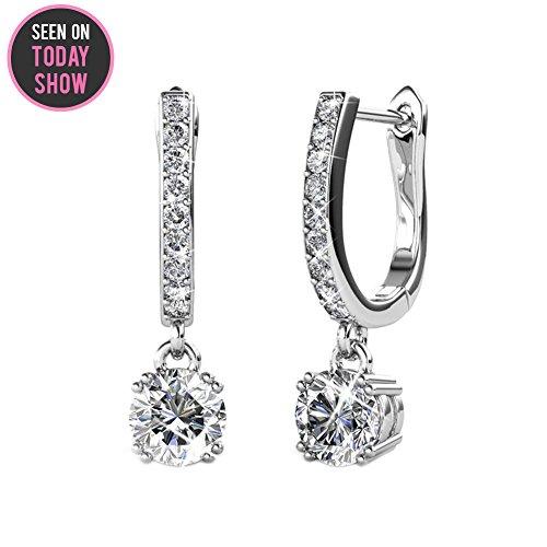 Cate & Chloe McKenzie 18k White Gold Dangling Earrings with Swarovski Crystals, Solitaire Crystal Dangle Earrings, Best Silver Drop Earrings for Women, Channel Set Drop Horseshoe Earrings MSRP $136