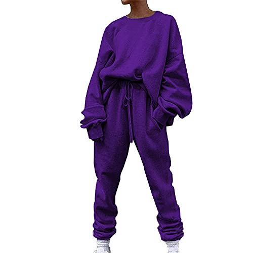 Women's Casual Tracksuit 2 Piece Sweatshirt Top Long Sleeve + Trousers Solid Color Sports Suit Women Long Sleeve Jumpsuits Casual Playsuit Solid Rompers Trousers Pants with Pockets Tracksuit 2 Piece