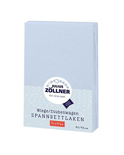 Julius Zöllner 8310013350 - Spannbetttuch Frottee für die Wiege, Größe: 90 x 40 cm, Farbe: hellblau