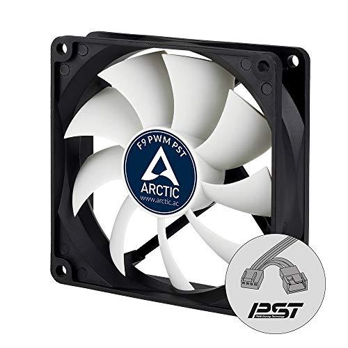 ARCTIC F9 PWM PST – 99 mm Ventilador de Caja para CPU con PWM Sharing Technology (PST), Motor Trifásico Muy Silencioso, Computadora, 150-1800 RPM – Negro/Blanco
