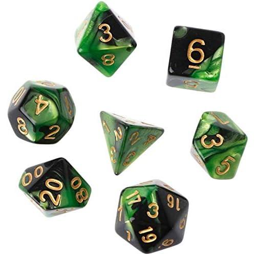 YiGaTech Giochi a 7 Pezzi, Giochi di Dadi in Acrilico Gioco su più Lati, Tavolo Poliedrico D4-D20 (Verde Nero)