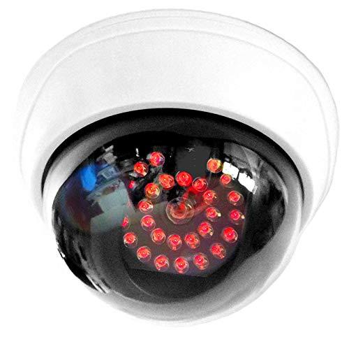 Cámara falsa con 25 ledes rojos infrarrojos, acero, con objetivo, cámara de vigilancia falsa para pared o techo, color blanco