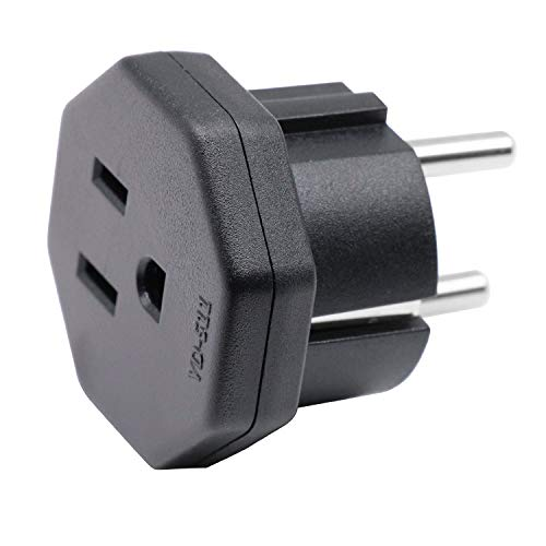 Enchufe Adaptador de EEUU/JP/CA a UE/DE/FR/IT/ES, Adapta Aparatos Eléctricos de EEUU/CA/JP a Enchufe de 2 Clavijas UE/Alemania (1 Pieza Negro)