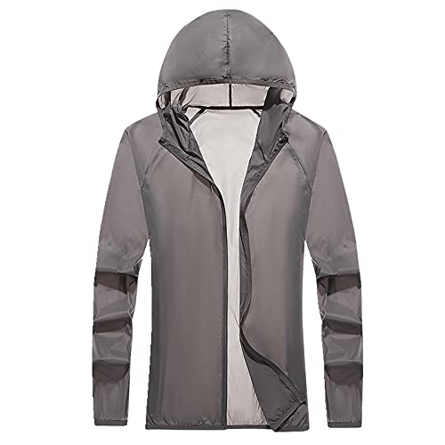 Protector solar, cortavientos con capucha para hombre y mujer, Grey1, XXXL