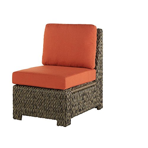 Hampton Bay Laguna Point All-Weather Wicker Outdoor Sectional Middle Chair With Quarry Red Cushions