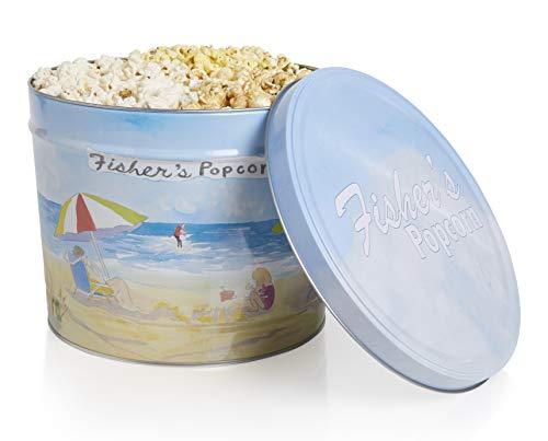 Fisher's Popcorn 3-Flavor Popcorn (Caramel, White Cheddar, Butter) in Decorative Metal Tin, 2 Gallon Tub