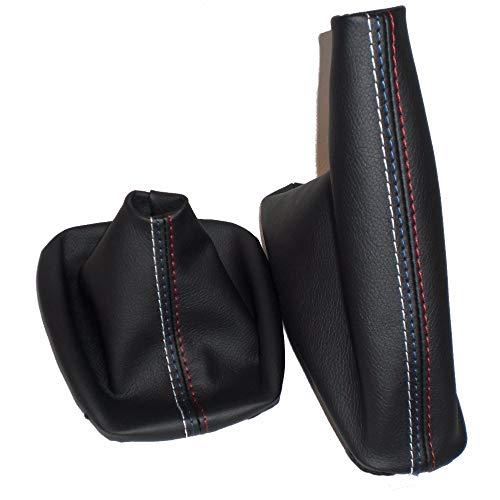 Universal PU Leather Gear Shift Knob Cover Handbrake Gaiter Shift Boot Leather Cover Boot Black for BMW 3 Series E36 E46 M3 2 PCS cutewarehouse Gear Shift Knob Cover