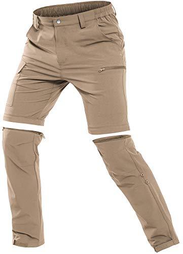 Cycorld Herren Wanderhose Outdoorhose, Atmungsaktiv Stretch Herren Trekkinghose mit 5 Tiefe Taschen (Khaki, 3XL)