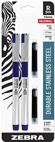 Zebra R-301 Stainless Steel Rollerball Pen, Fine Point, 0.7mm, Blue Ink, 2-Count