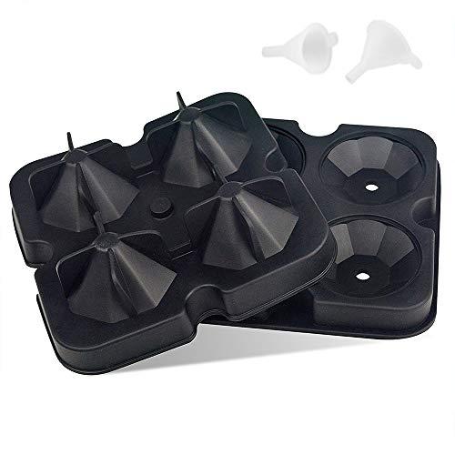 Jixista Silikon Eiswürfelform Diamant Eiswürfelform mit Deckel Round Ice Ball 2pcs Maker Eiswürfelbehälter mit deckel Ice Cube Tray Eiswürfelformen für Gefrierschrank Whisky Cocktail