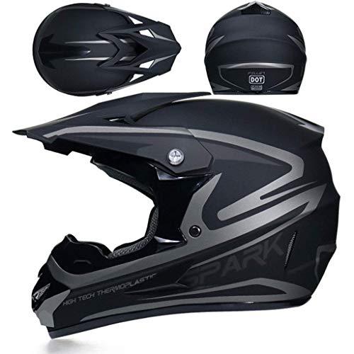 Jaune, M Moto DH Enduro VTT Descente Dirt Bikes Quad Casque de Moto Cross pour Les Enfants et Les Adultes 55~56cm Casque de Moto-Cross avec Lunettes de Protection Gants Masque