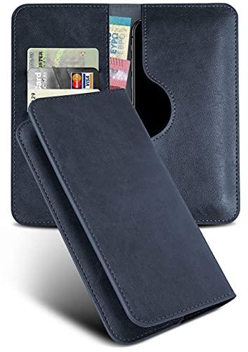 moex Excellence Line Handytasche kompatibel mit HTC Desire 12s   Hülle Dunkel-Blau - Mit Kartenfach und Geld + Handy Fach, Klapphülle, Flip-Hülle Tasche, Klappbar