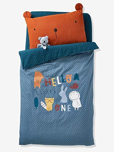 Vertbaudet Bettbezug,Waldspaziergang für Babybetten blaugrau Bedruckt 100X120