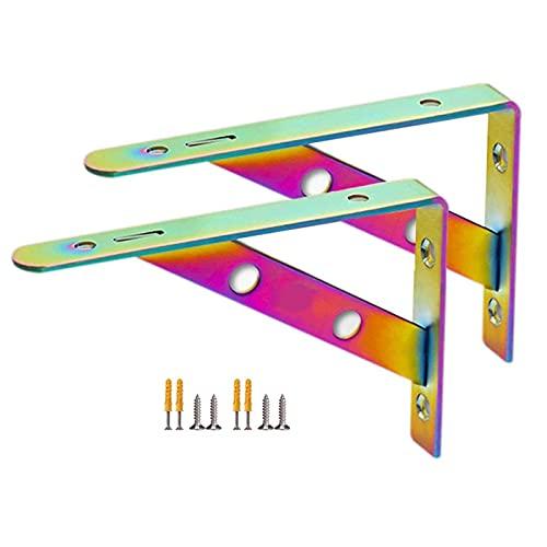 Soporte de acero inoxidable compatible con estante grueso montaje en pared trípode color brillante fijo 2 piezas colorido 130 por 200 mm por 20 mm