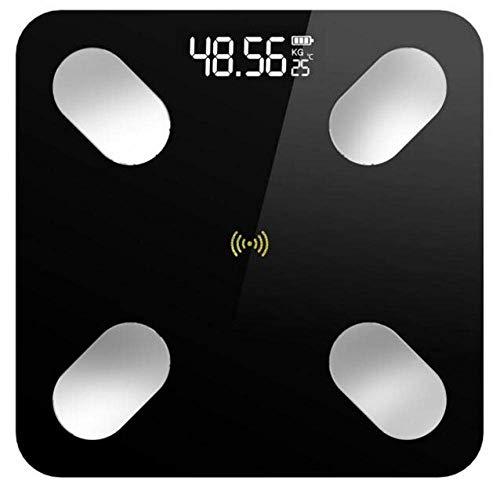 BINGFANG-W Discs Waage Personenwaage, Bluetooth Digitale Körperfettwaage, Body Composition Monitor und Smart-Badezimmer-Skala, 180Kg, Schwarz Abrasive