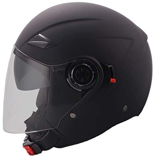 Jethelm Helm Motorradhelm Rollerhelm mit Sonnenvisier RALLOX 702B matt schwarz S M L XL (L)