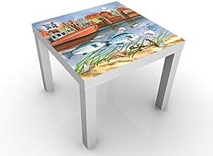Apalis Tavolino Design The Small Pipe Fish© Harbour 55x55x45cm, Tischfarbe:Weiss;Größe:55 x 55 x 45cm
