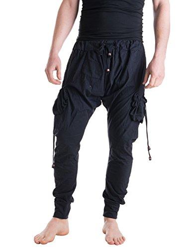 Vishes – Alternative Bekleidung – Leichte Herren Haremshose aus Baumwolle mit hohem Schritt und Tunnelzug schwarz Einheitsgröße