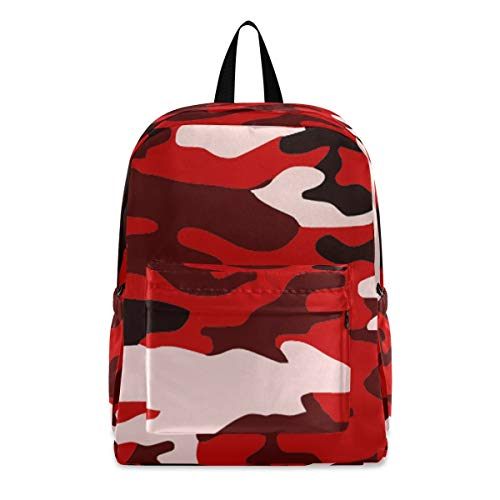 Red Camouflage Fashion School Backpack Lightweight Travel Laptop College Bookbag