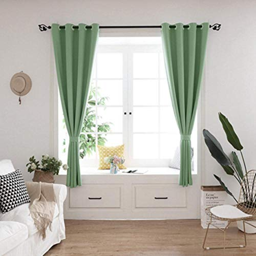 GHJYU Solid Short Curtains cortinas Kitchen Blackout Curtains For Living Room Bedroom Curtains tende Home Decoration Drapes,green,W80x130cm 1PC