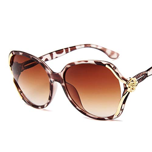 WEQQ Gafas de Sol polarizadas para Mujer Gafas de Moda Gafas de Sol para Mujer Gafas de Sombra (Estampado de Leopardo)