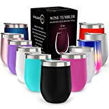 CHILLOUT LIFE 12 oz Stainless Steel Tumbler with Lid & Gift Box - Wine Tumbler Double Wall Vacuum Insulated Travel Tumbler Cup for Coffee, Wine, Cocktails, Ice Cream, Powder Coated Tumbler