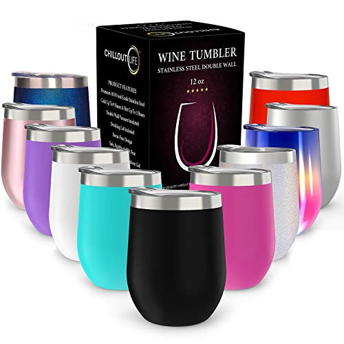 CHILLOUT LIFE 12 oz Stainless Steel Tumbler with Lid & Gift Box - Wine Tumbler Double Wall Vacuum...
