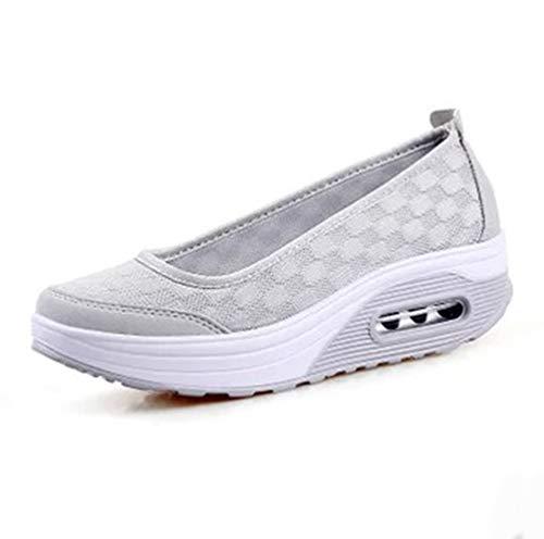 Lvguang Sommer Frauen Atmungsaktiv und Deo Dicken Boden Einfarbig Offener Spann Lässige Slip-on Schuhe (Grau, 37 EU)