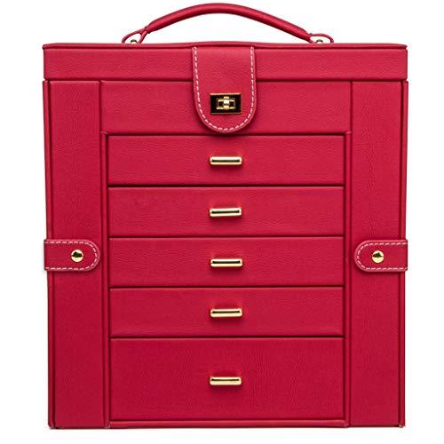 Caja de Joyería Caja de joyería, joyería de imitación de cuero funcional organizador del caso de exhibición de almacenamiento, regalo for las chicas o caja de almacenamiento de gran capacidad mujeres